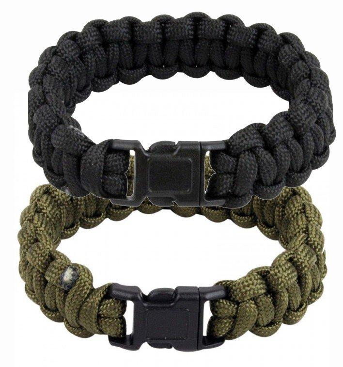 Highlander Paracord Bracelet Whistle Olive or Black
