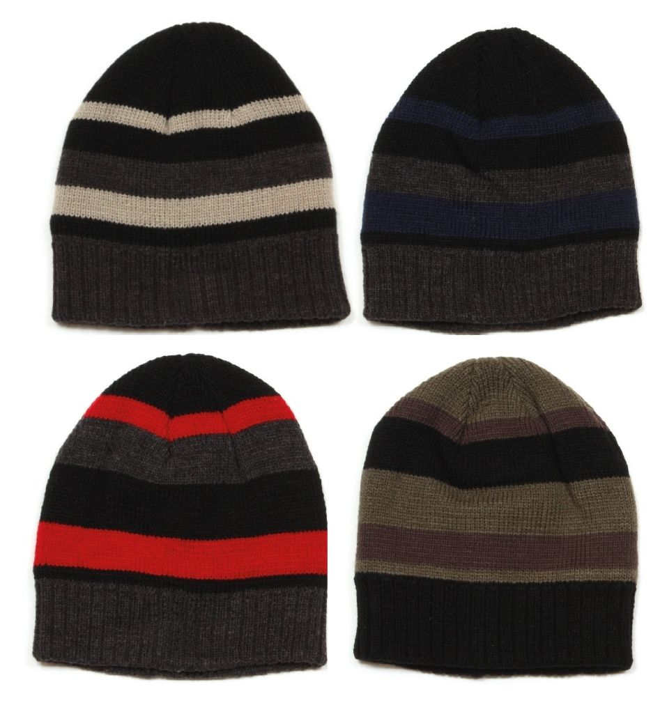 24a042a0e18 Mens Knitted Striped Thinsulate Hat - Wow Camping