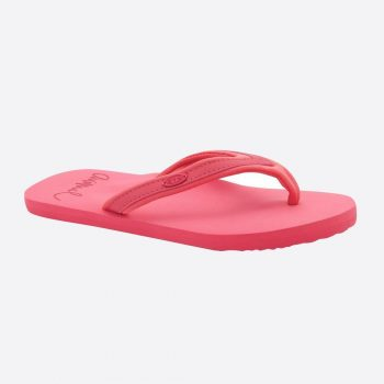 Calypso Coral Red Animal Swish Slim Block Flip Flops