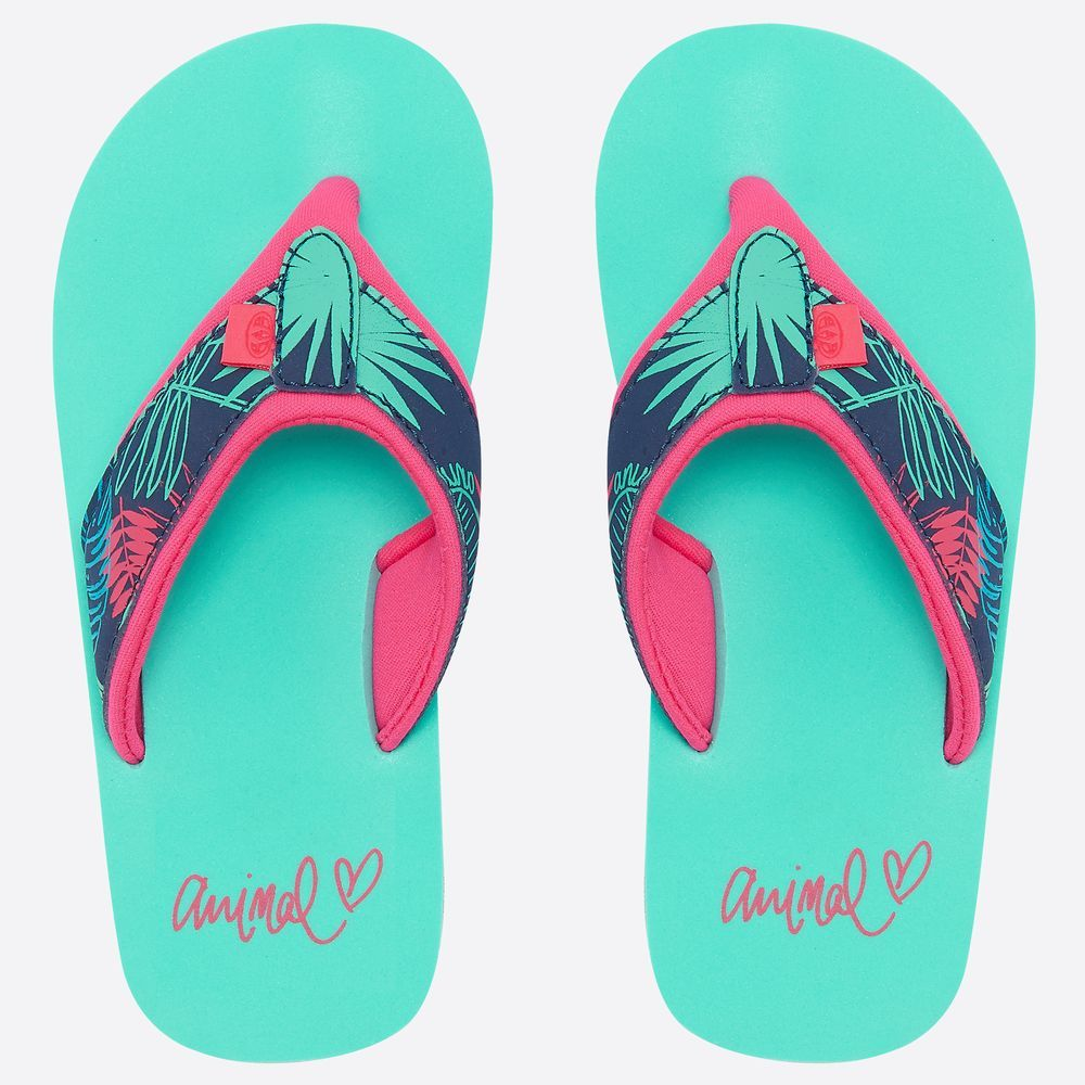 d8de98dd8732 Animal Swish Upper AOP Girls Flip Flops (Turquoise Green) - Wow Camping