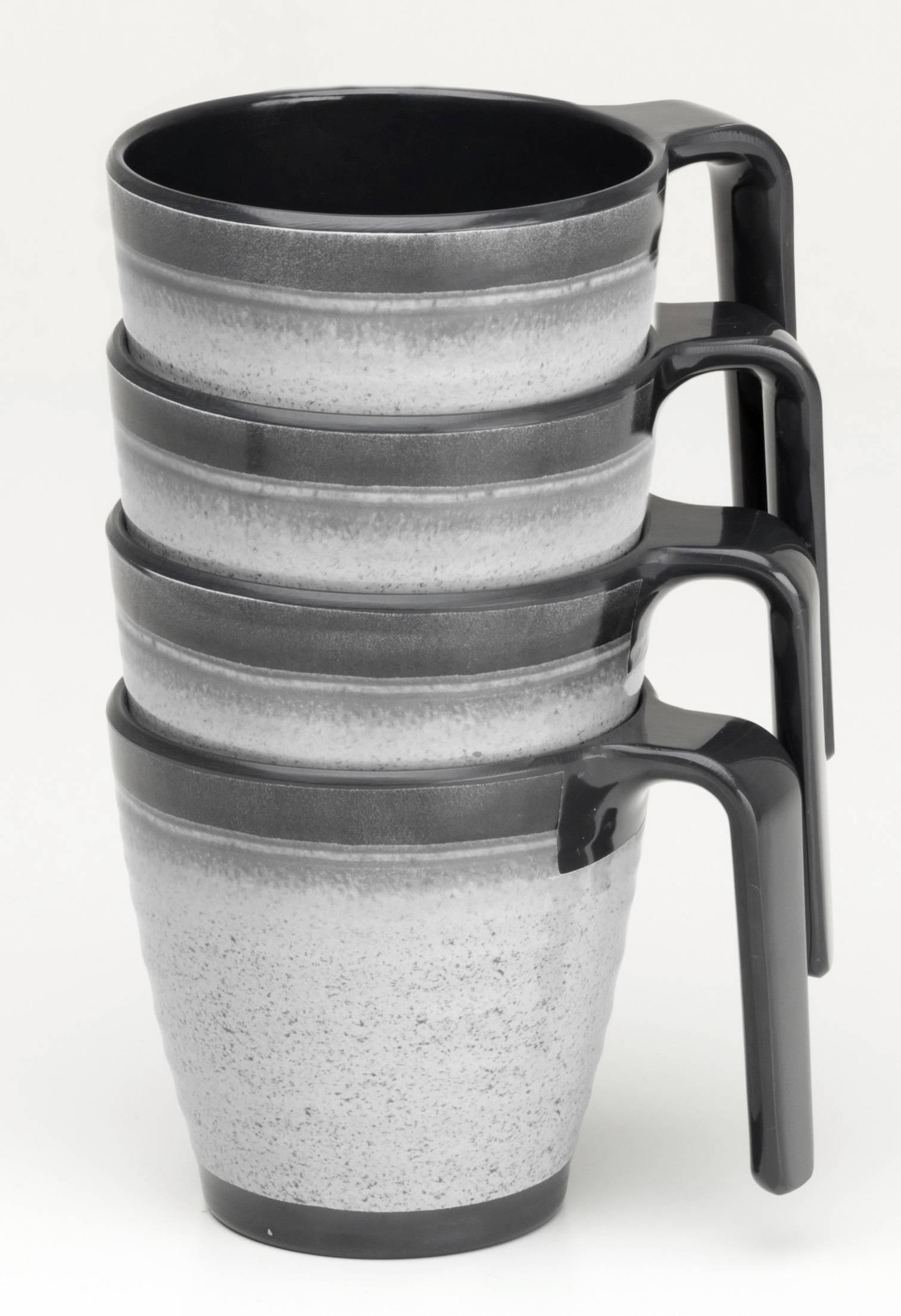 Flamefield Granite Grey Stacking Mugs X4 Premium