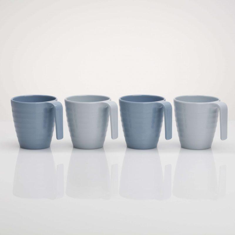 Flamefield Shades of Blue Mug Set 4 pk Premium Melamine (Plastic)