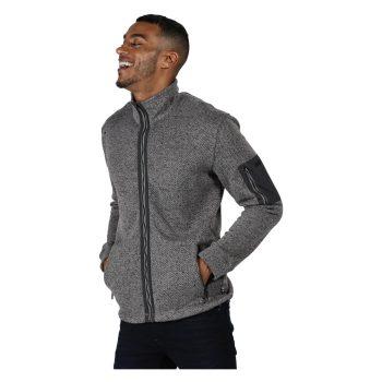 Regatta Garret Mens F/Zip Knit Effct Top (Rock Grey/Seal Grey)