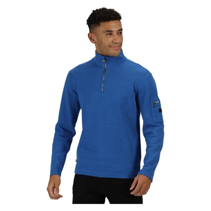 Regatta Tavior Mens H/Zip Ribbed Fleece (Nautical Blue)