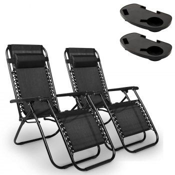 Textilene Reclining Chair W/ Side Table Black - SOLD AS A PAIR