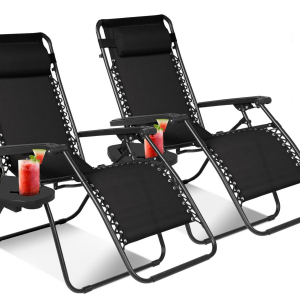 Textilene Reclining Chair W/ Side Table Black – SOLD AS A PAIR